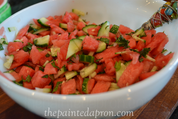 watermelon and mint salsa thepaintedapron.com
