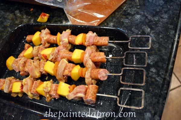 chicken and smoked sausage kebabs thepaintedapron.com