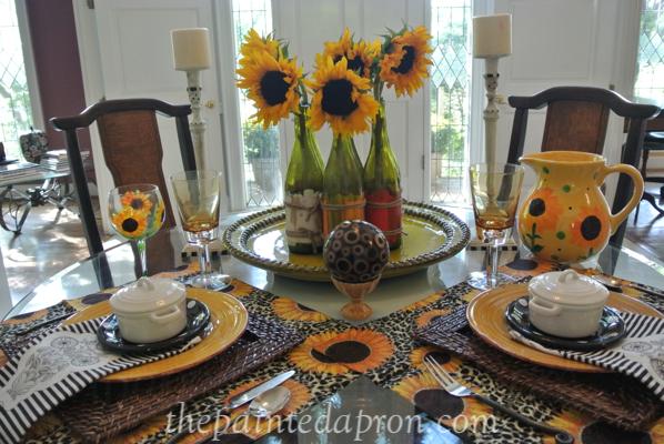sunflower table thepaintedapron.com