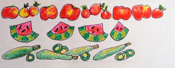 tomatoes, watermelon, zucchini thepaintedapron.com
