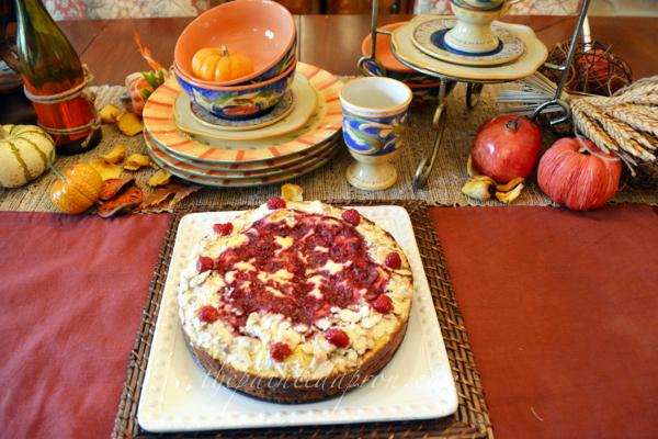 raspberry almond breakfast cake thepaintedapron.com