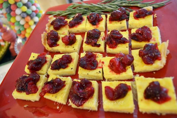 bleu cheese tart with cranberry thepaintedapron.com