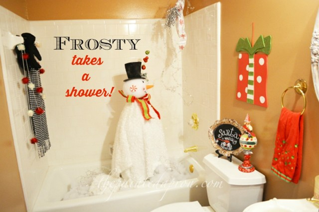 Frosty takes a shower thepaintedapron.com