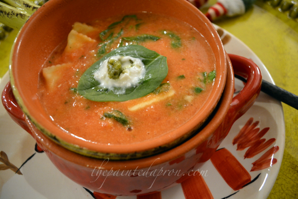 Tomato Soup with Chobani and spinach thepaintedapron.com