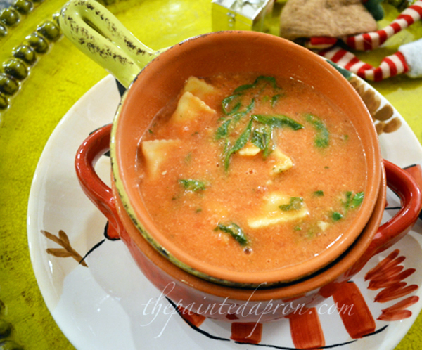 tomato soup with pasta and spinach thepaintedapron.com