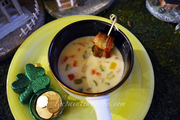 Beer cheese soup with bacon wrapped brussels sprouts thepaintedapron.com