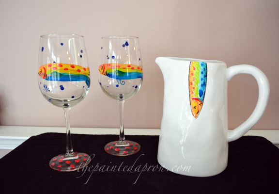 fish pitcher and glasses thepaintedapron.com