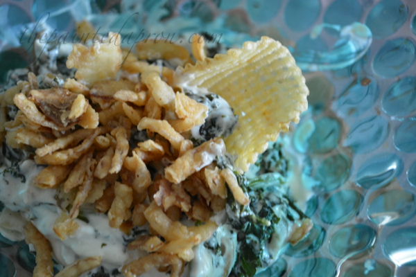 kale dip with chard and fried onions thepaintedapron.com