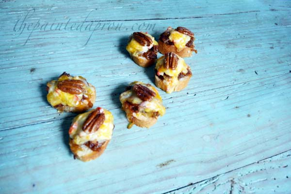 praline pecan topped bacon jam and pimento cheese toast thepaintedapron.com
