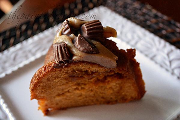 peanut butter caramel cake thepaintedapron.com