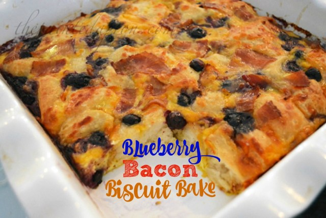 breakfast casserole with bacon and blueberries thepaintedapron.com