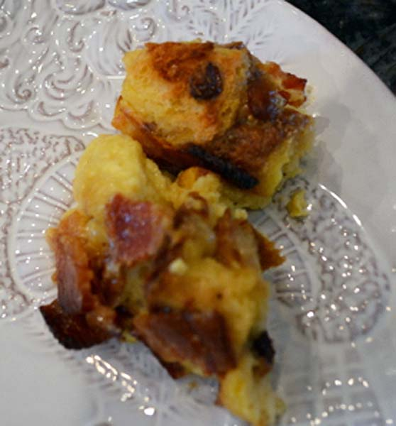 bacon and eggnog panettone pudding
