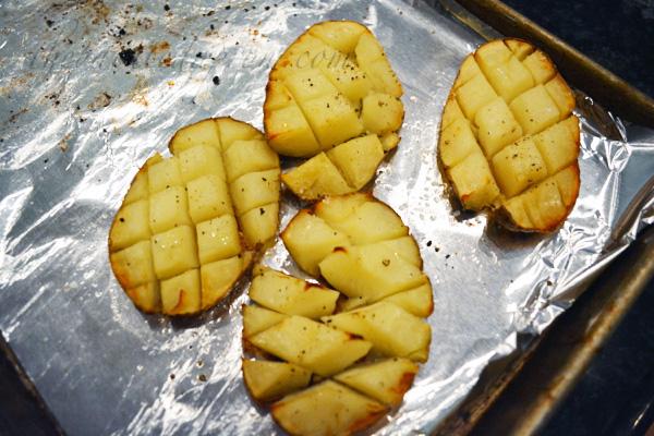 crispy roasted potato halves