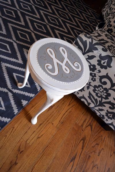 gray & white monogram side table