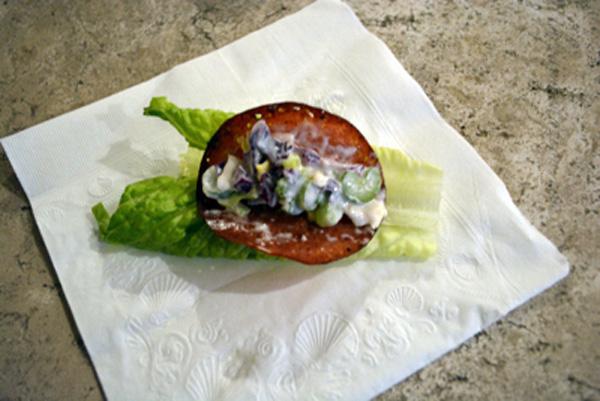 salami with salad dip