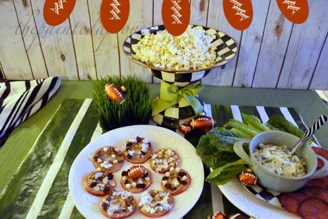 super bowl healthy snacks with banner