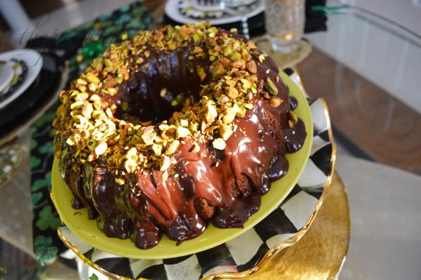 pistachio crowned bundt cake