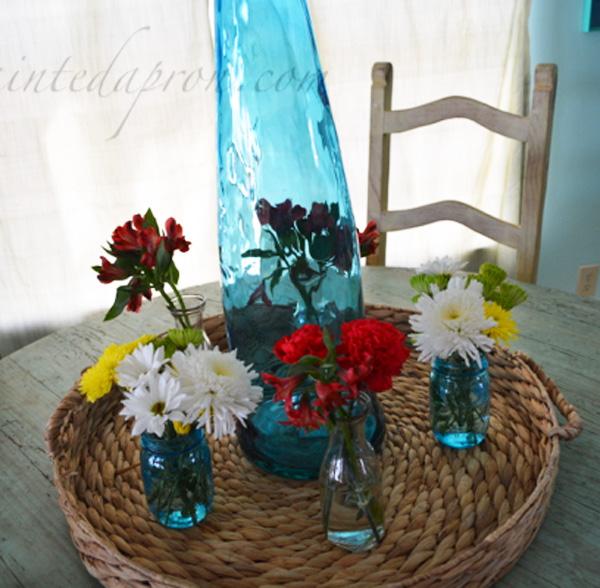 blue bottle centerpiece