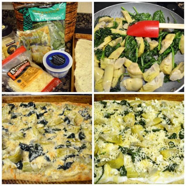 3 cheese spinach artichoke pizza