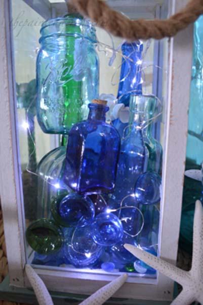 bottle lit lantern