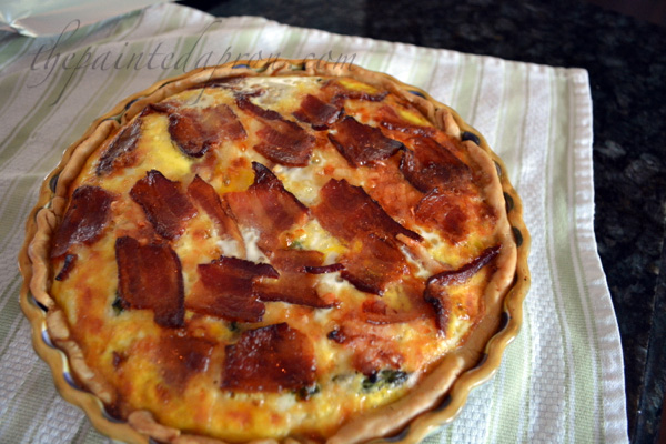 bacon, ham and vegetable quiche