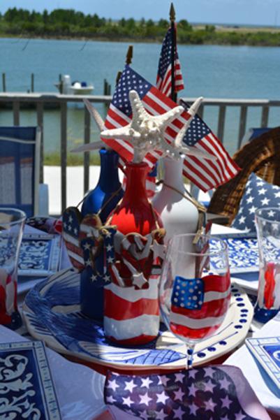 flag & bottle centerpiece