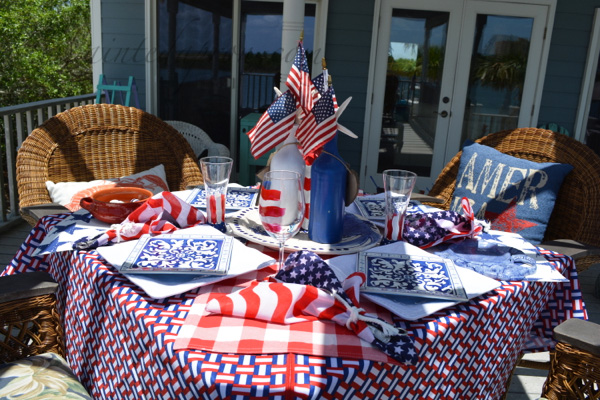 red white and blue table