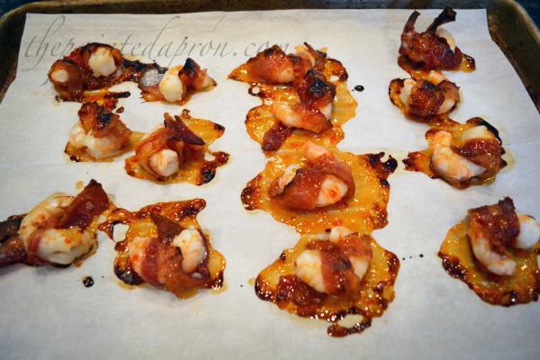 bacon wrapped sweet chili shrimp