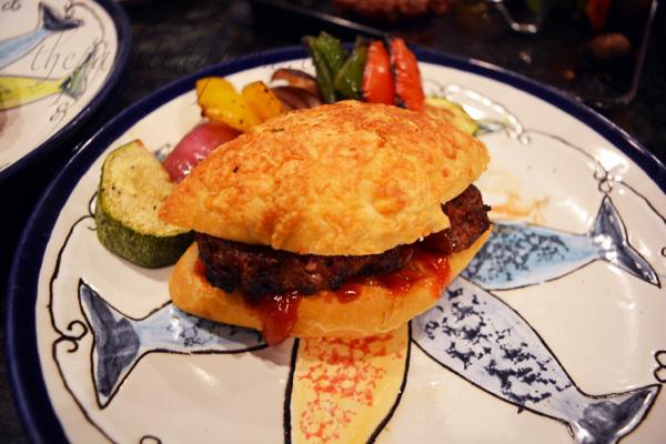 unami burger on sourdough roll