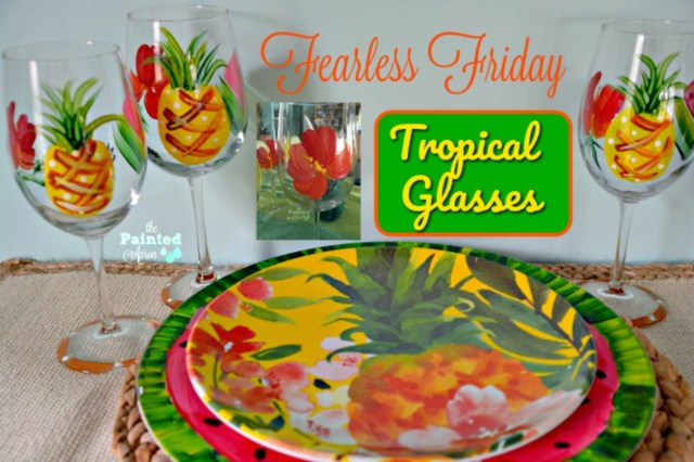 tropical plates and glasses