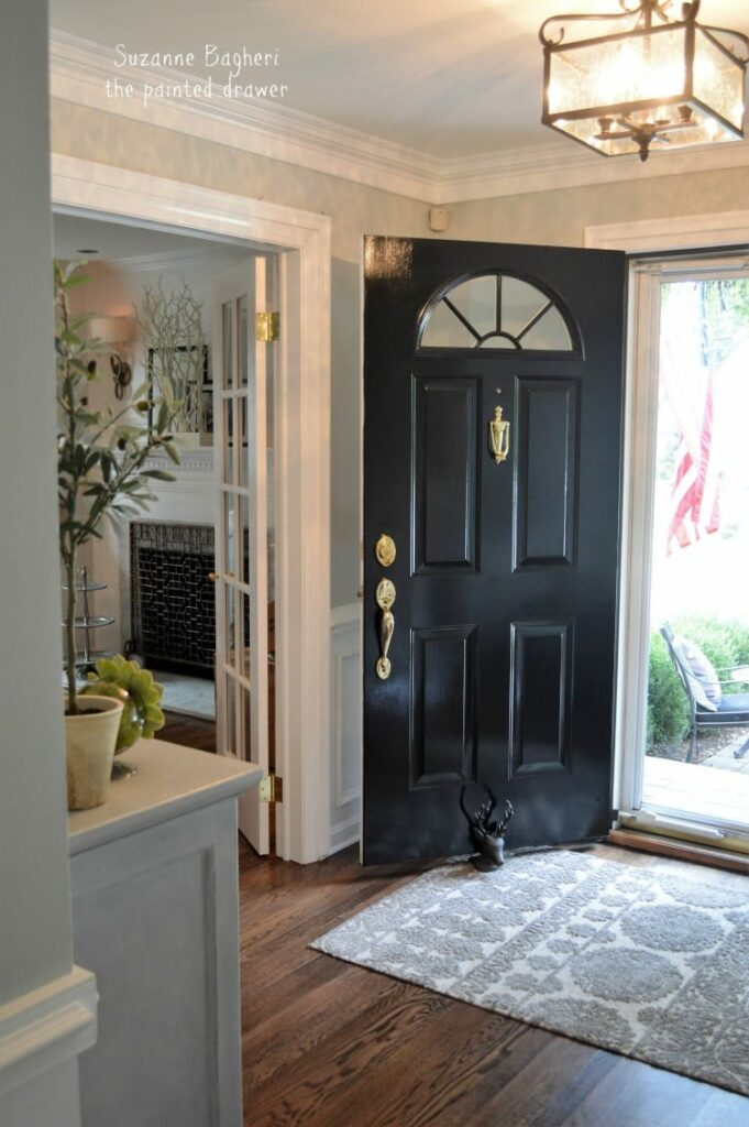 grey sofa black table leather cleaners sunderland christin's farmhouse glam foyer makeover