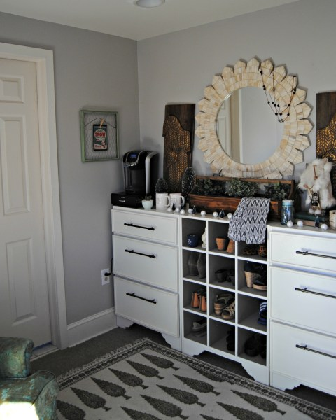 Winter Bedroom Coffee Bar - The Painted Home by Denise Sabia