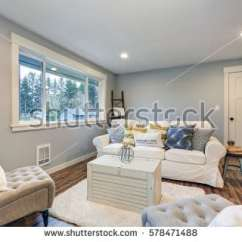 Living Room Space Navy Blue Furniture Stock Photo Cozy With Soft Grey Walls Furnished Tufted Chairs Slipcovered White 578471488