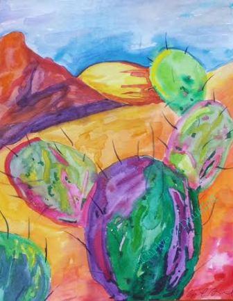 Cactus Love, Watercolor, 8x10