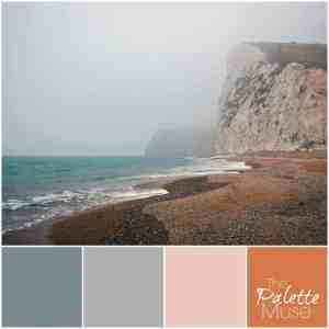 This beachy palette is made up of muted blues, greens, and oranges. ThePaletteMuse.com
