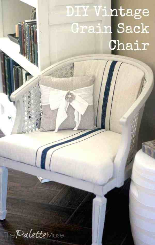 DIY-Vintage-Grain-Sack-Chalky-Finish-Chair