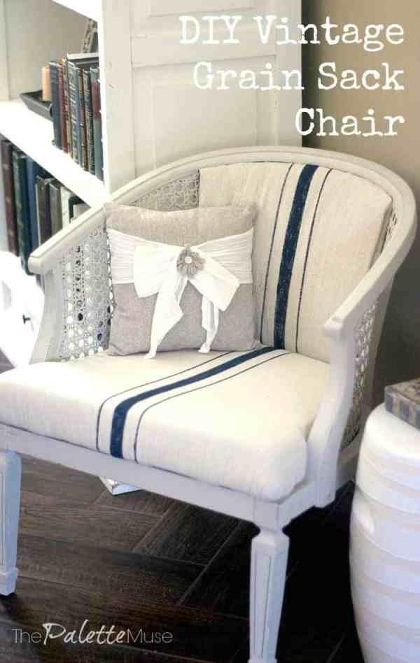 DIY-Vintage-Grain-Sack-Chalky-Finish-Chair