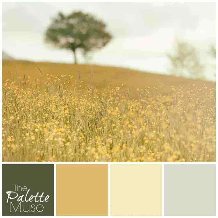 This sunny palette is full of warm greens and golds.
