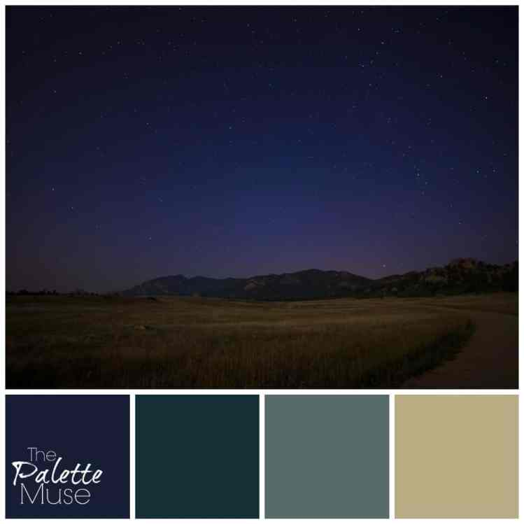 Starry night palette with deep blues and greens