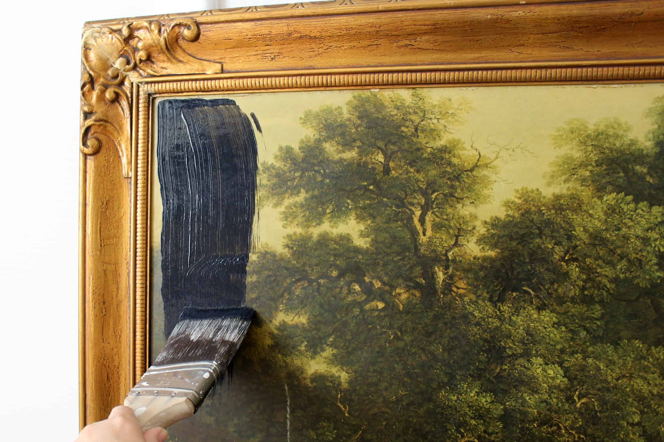 Make a chalkboard out of an old framed picture the palette muse use the roller to cover the print with chalkboard paint then use a brush to fill in the edges if its still attached to the frame jeuxipadfo Images