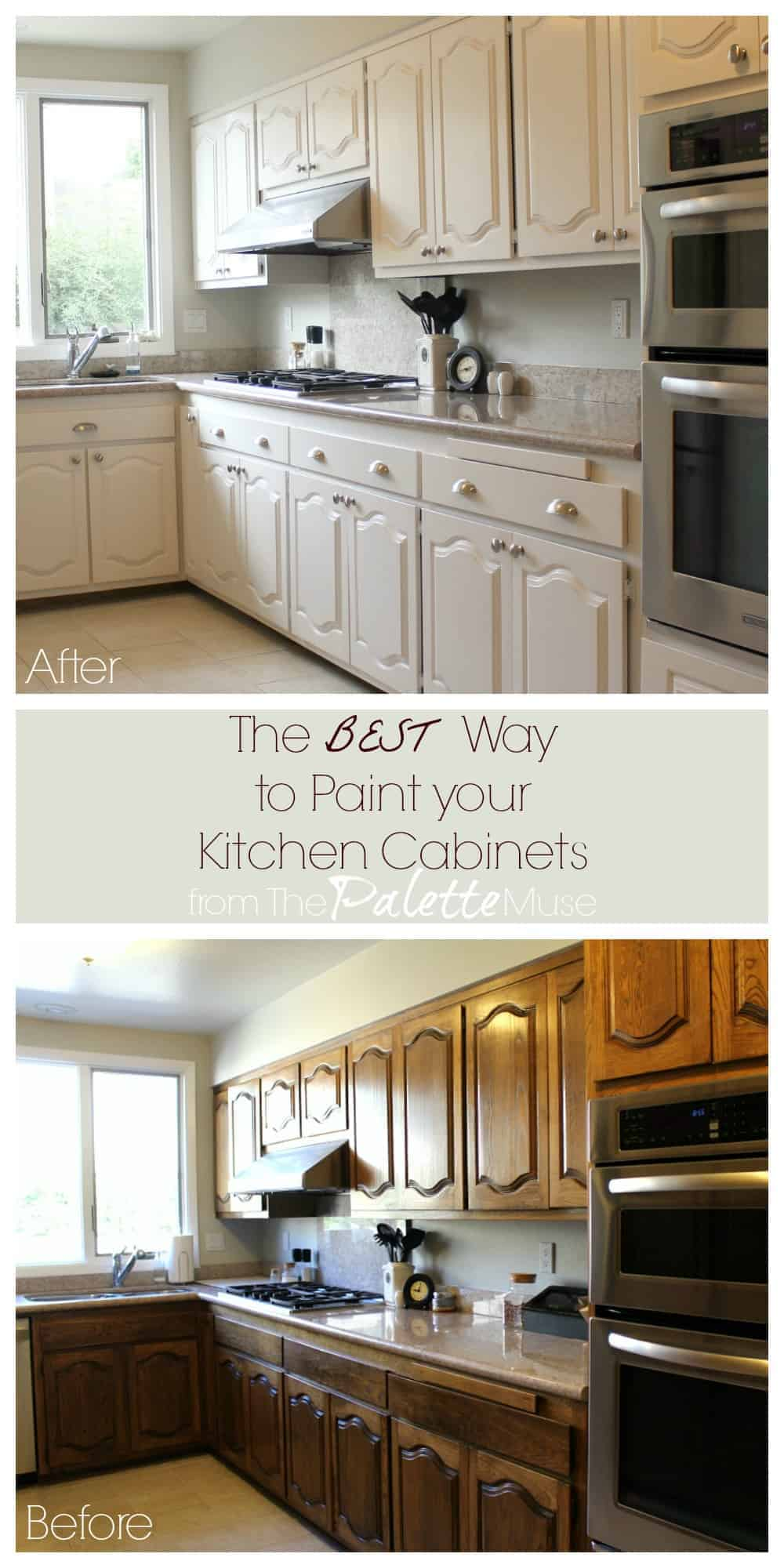 The best way to paint kitchen cabinets the palette muse for Best way to clean painted kitchen cabinets