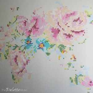 Cross Stitch Floral Map Mural
