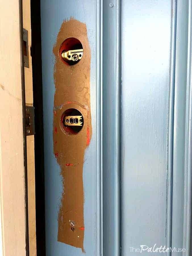 Remove door handles, rather than trying to paint around them.