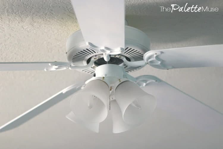 This white ceiling fan is reincarnated from a dated brass and oak monstrosity.