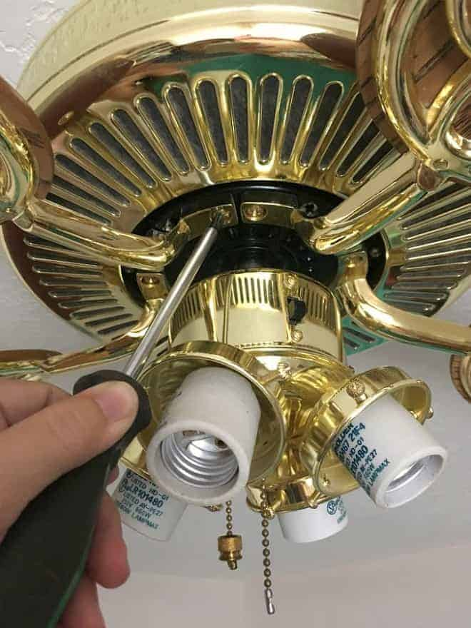 Each blade of the ceiling fan is attached with three screws.
