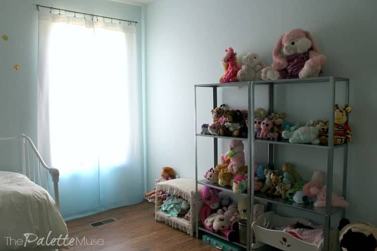 IKEA Hyllis shelves do a great job of corralling stuffed animals.