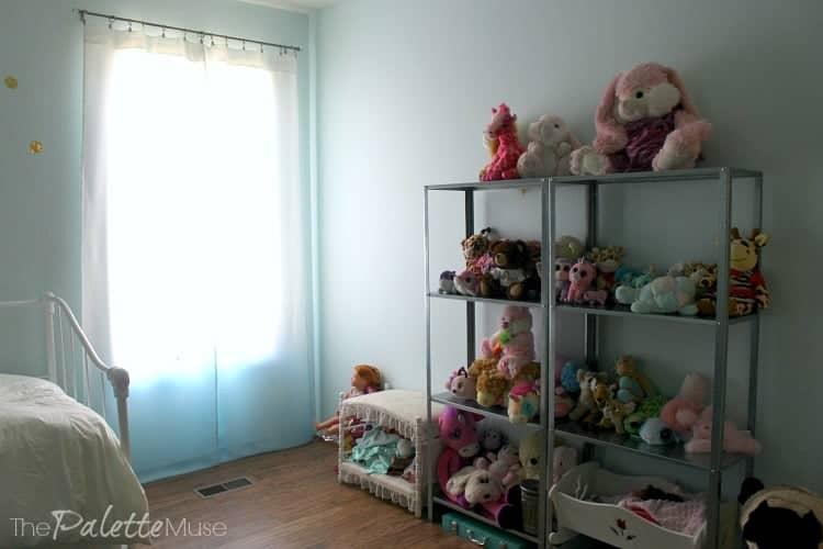 IKEA Hyllis shelves do a great job of corralling stuffed animals.