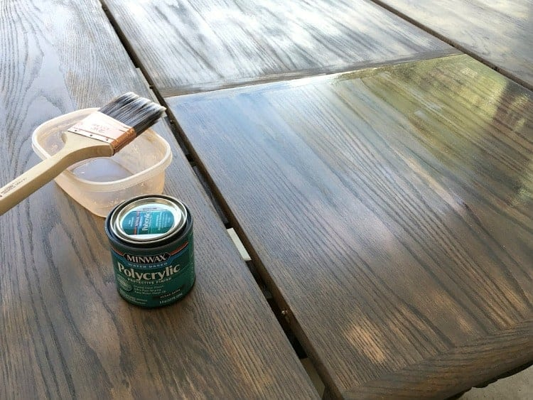 Applying polycrylic to stained table top