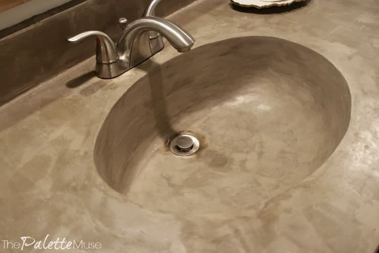 Concrete countertop with molded sink