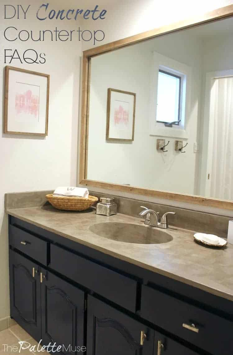 Thinking about concrete countertops? Read this first! Here's all the facts and FAQs about the process and how well it's holding up. #concrete #countertop #DIYdecor